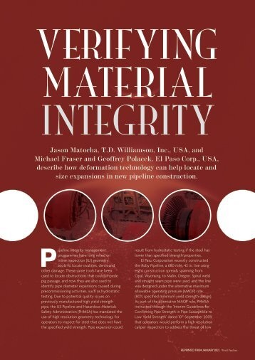 Verifying Material Integrity - T.D. Williamson, Inc.