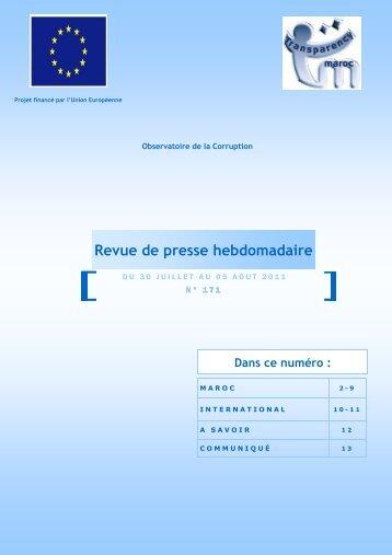 Revue de presse n°171 du 30 juillet au 05 août 2011 - Transparency