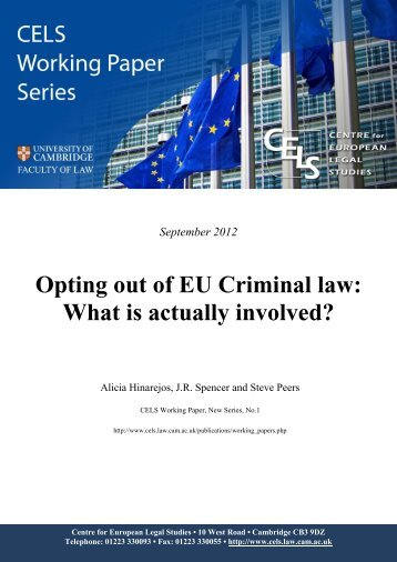 Opting out of EU Criminal law: what is actually involved - CELS ...