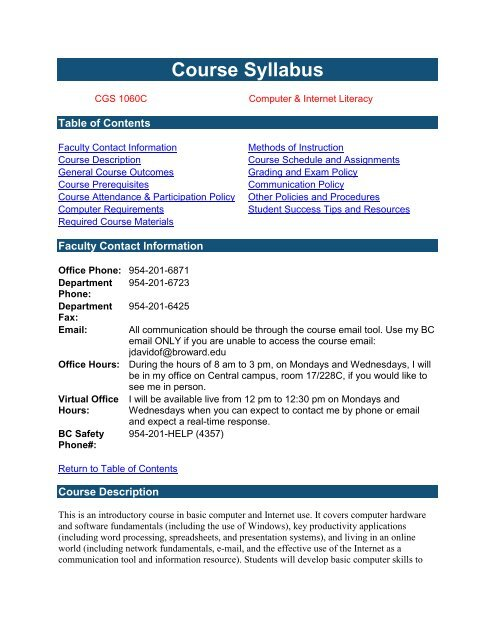 Course Syllabus Template Broward College