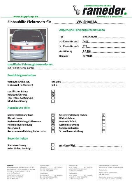 Einbauhilfe Elektrosatz für VW SHARAN