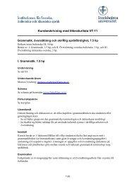 Kursbeskrivning med litteraturlista VT-11 - Institutionen för franska ...