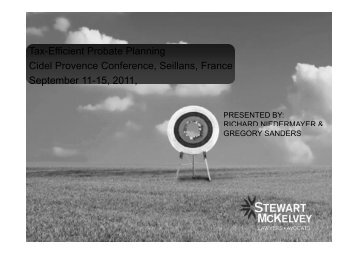 Tax-Efficient Probate Planning Cidel Provence ... - Stewart McKelvey