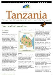 Practical Information - Tanzania Tourist Board