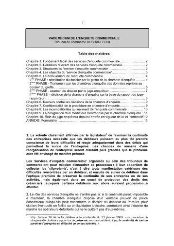 Chapitre 3. Structures du 'service d'enquête commerciale' - Juridat