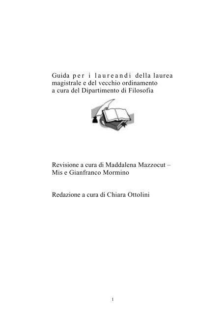 Guida Per I Laureandi Della Laurea Magistrale E Del Vecchio