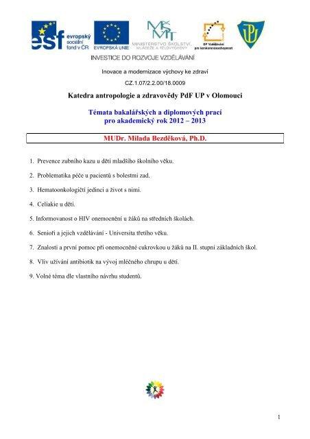 3. Témata bakalářských prací