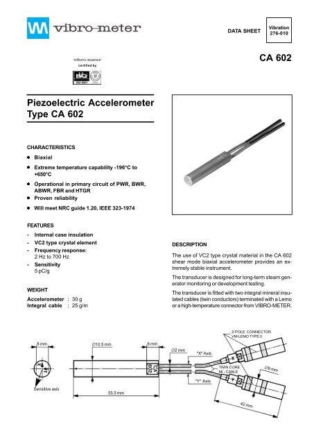 CA 602 Piezoelectric Accelerometer Type CA 602 - Vibro-Meter
