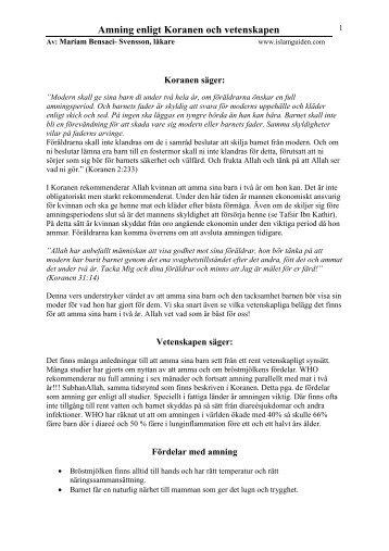 Amning enligt Koranen och vetenskapen - Islamguiden
