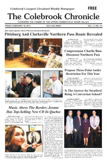 February 18, 2011 - Colebrook Chronicle