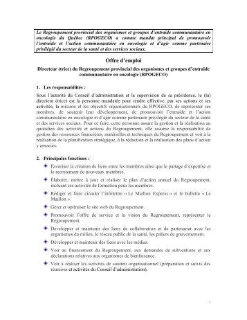 Le RPOGECO, est le Regroupement au service des organismes et ...