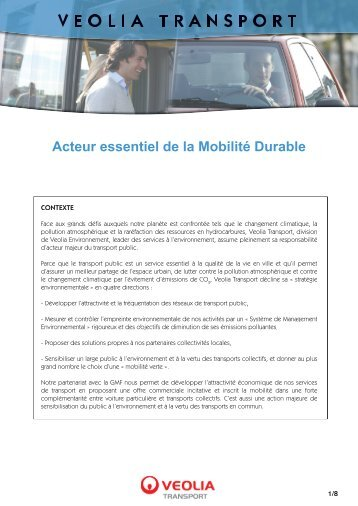 Acteur essentiel de la Mobilité Durable - Transports