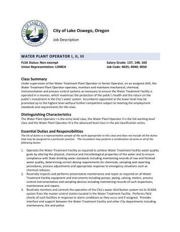 Water Plant Operator I II III - City of Lake Oswego