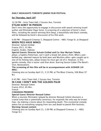 TJFF 2013 Daily Highlights April 18 - Toronto Jewish Film Festival