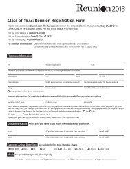 Class of 1973: Reunion Registration Form - Alumni