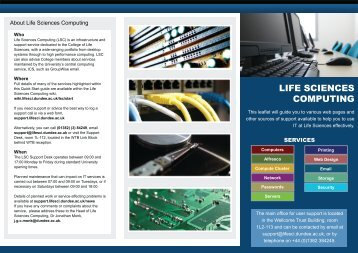 LIFE SCIENCES COMPUTING - College of Life Sciences