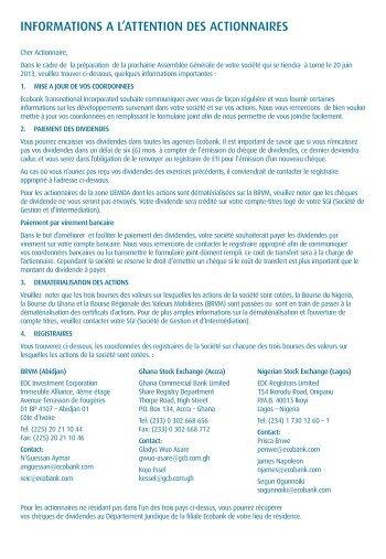 ETI – Formulaire d'actionnaires - Ecobank