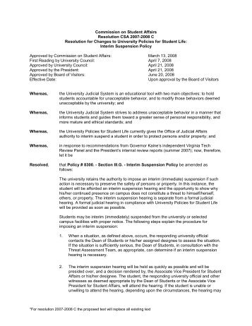Commission on Student Affairs - Governance Minutes - Virginia Tech