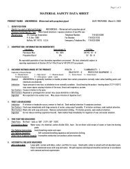 MATERIAL SAFETY DATA SHEET - Highland Woodworking