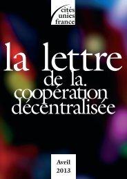 La Lettre - avril 2013 - Cités Unies France
