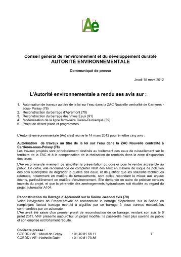 Le 14 mars 2012 - cgedd - Ministère du Développement durable