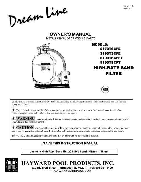 Dream Line High Rate Sand Filters Owner S Manual Hayward