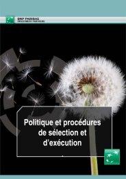 Politique et procédures de sélection et d'exécution - BNP Paribas ...
