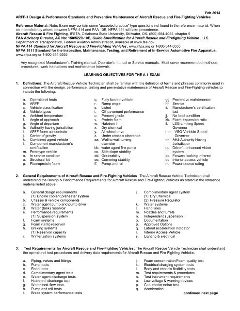 A-1 Reference Material List and Learning Objectives