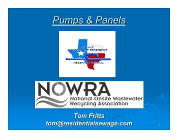 Pumps & Panels - Tom Fritts - Texas Onsite Wastewater Association