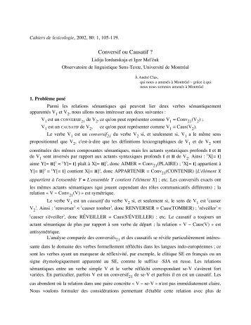 Conversif ou Causatif ? - Observatoire de linguistique Sens-Texte ...