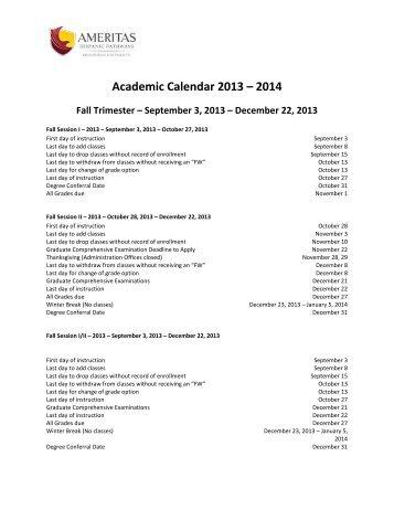 Academic Calendar 2013 – 2014
