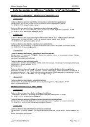 ORMEDIMS Liste des centres de référence maladies rares