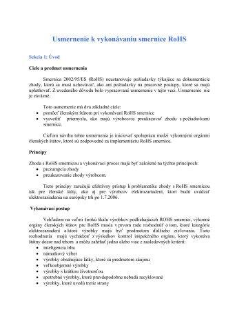 Usmernenie k vykonávaniu smernice RoHS - Ministerstvo životného ...