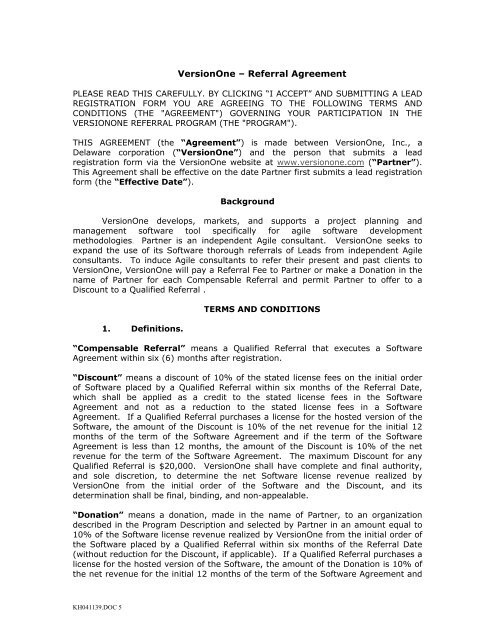 VersionOne – Referral Agreement