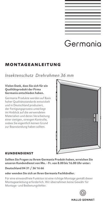 montage und bedienanleitung germania. Black Bedroom Furniture Sets. Home Design Ideas