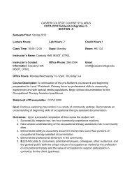 A Semester/Year: Spring 2012 Lecture Hours - Casper College