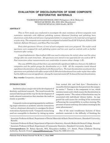 Evaluation of Discolouration of Some Composite Restorative Materials