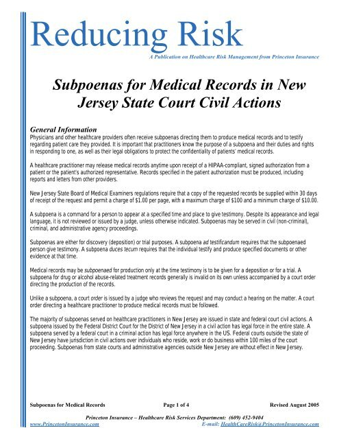 Subpoenas for Medical Records in New Jersey State Court ...