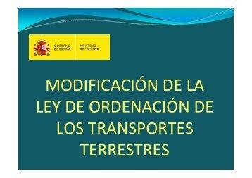 Ley de Ordenación de los Transportes Terrestres - La Moncloa