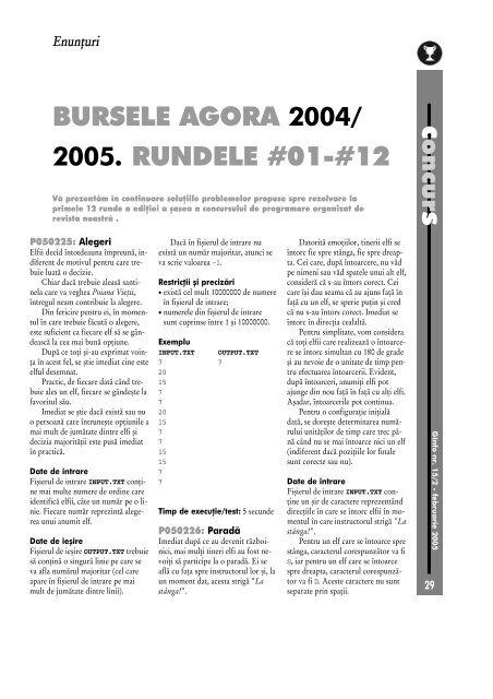 BURSELE AGORA 2004/ 2005. RUNDELE #01-#12 - GInfo