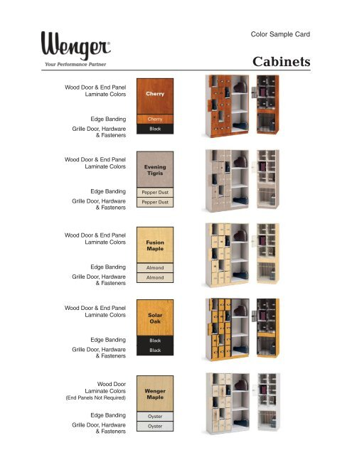 250A647-06 Cabinet Color Samples_Layout 1 - Wenger Corporation