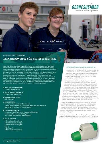 ELEKTRONIKER/IN FÜR BETRIEBSTECHNIK - Gerresheimer