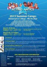 RCHK 2013 Summer Camp flyer web - Renaissance College