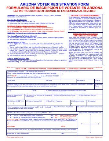Arizona Voter Registration Form - Pima County Recorder'S