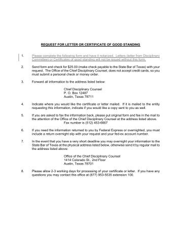 Request for letter or certificate of good standing - State Bar of Texas