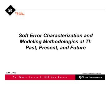 Soft Error Characterization and Modeling Methodologies ... - Sematech