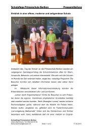Bericht Tag der Schule - Primarschule Berikon