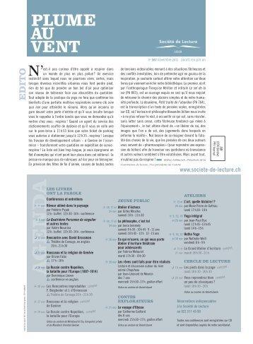 Edition de novembre 2012 (N° 367) - Societe de Lecture Geneve