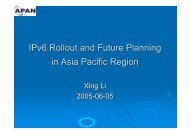 IPv6 Rollout and Future Planning in Asia Pacific Region - ccirn