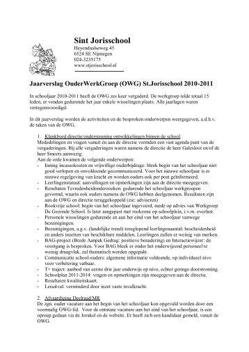 Jaarverslag 2010-2011 - St. Jorisschool Nijmegen